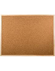 DESK TECH Small Cork Bulletin Board with Wooden Frame, 24 x 18 inches, Beige