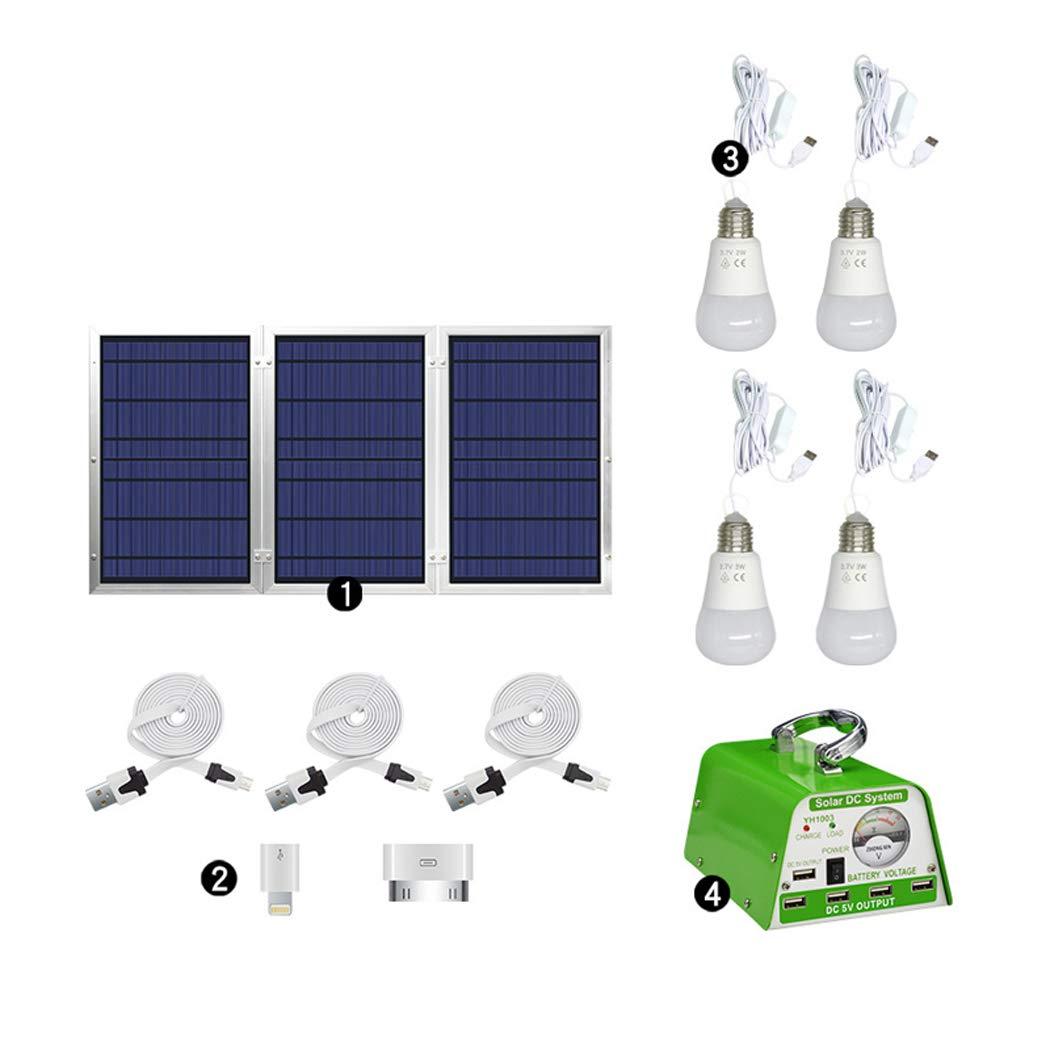 30ワットホーム12ボルトソーラーパネル小型発電照明システムカメラ携帯電話充電器屋外旅行テントソーラーライト,White  White B07SYZ2Q78