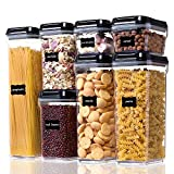 Vtopmart Airtight Food Storage Containers - 7 Pieces BPA Free Upgraded Plastic Canisters with Improved Durable Lids - for Kitchen Pantry Organization and Storage - Include 24 Labels
