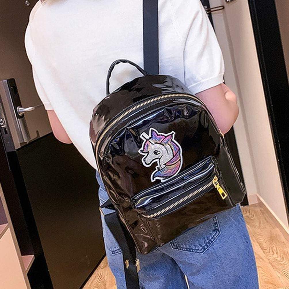 TENDYCOCO Girls Unicorn Backpack Glitter Laser School Bookbag Fashion Holographic Travel School Bag Anti-theft Waterproof Daypack Blue