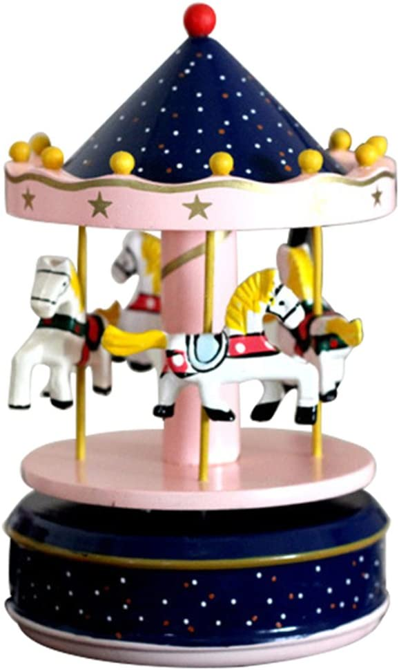 Elisona-Classic Carousel Horses Rotating Music Musical Box with Castle in the Sky Melody Home Decoration Kid Children Holiday Birthday Gift Type B