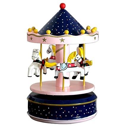 BEETEST Caballos de carrusel clásico gira música caja de música con el castillo en el cielo