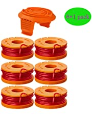 """0.065"""" WA0010 Replacement Trimmer Spool Line for Worx WG154 WG163 WG160 WG180 WG175 WG155 WG151 String Trimmer Weed Eater (6 Spools + 1 Cap) by TOPEMAI"""