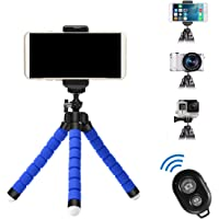 APSZST Phone Tripod, Portable and Adjustable Tripod Stand Holder with Remote for iPhone, Android Phone,Camera with Universal Clip and Remote (Blue)