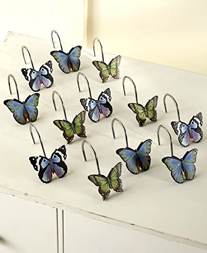 Image Unavailable Not Available For Color The Lakeside Collection Set Of 12 Butterfly Shower Curtain Hooks