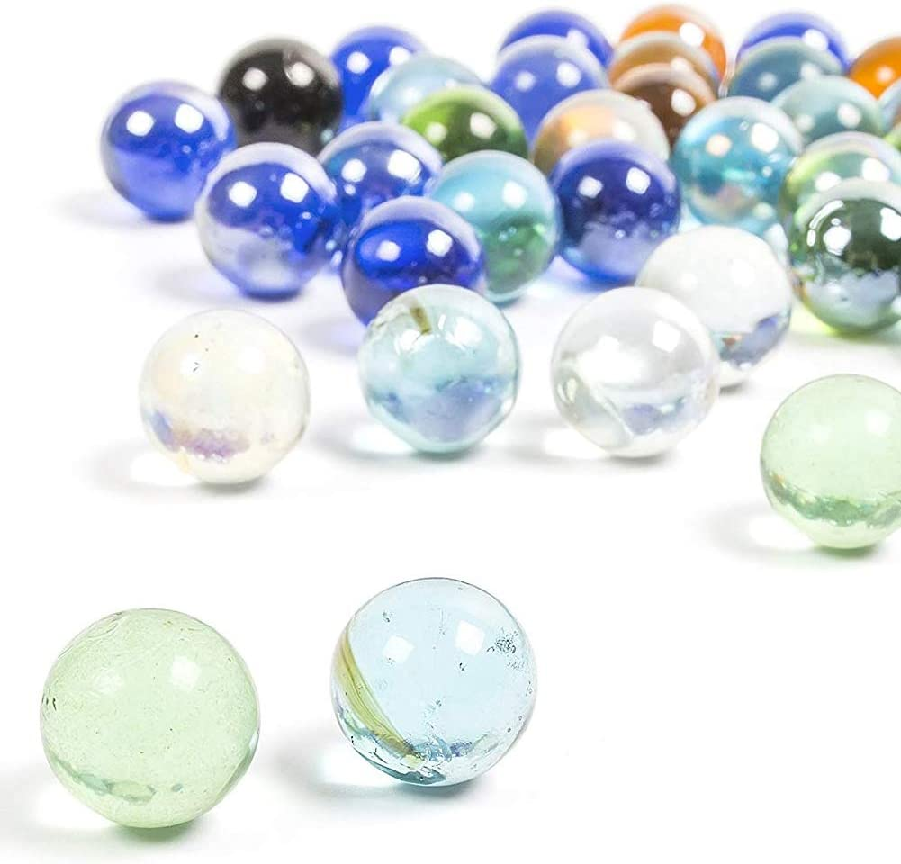 SOOTHING IDEAS 500g Light Blue Glass Marbles 16mm app 90