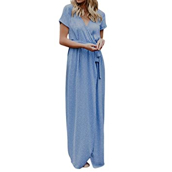 dca9dce4a709 Amazon.com: Womens Dress,Jushye Summer Sexy V Neck Boho Dots Beach ...
