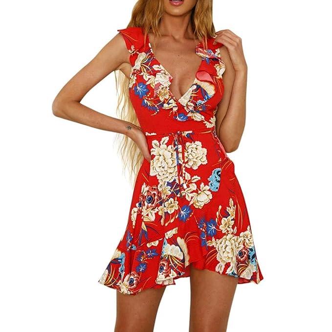 Vestidos mujer verano , Amlaiworld Moda Mujer Espaguetis Correa Impresión floral Vestir Mini vestido playa skater