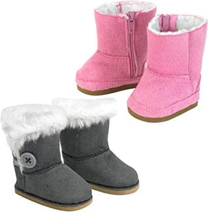 """Faux Suede Ewe Bootie Fur Trim Boots fits 18/"""" American Girl Doll Shoes"""