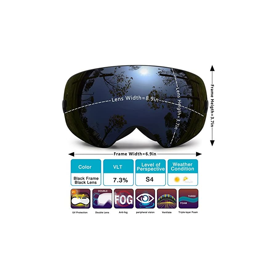 Hongdak Ski Goggles, Snowboard Goggles UV Protection, Snow Goggles Helmet Compatible for men women boys girls kids, Anti fog OTG