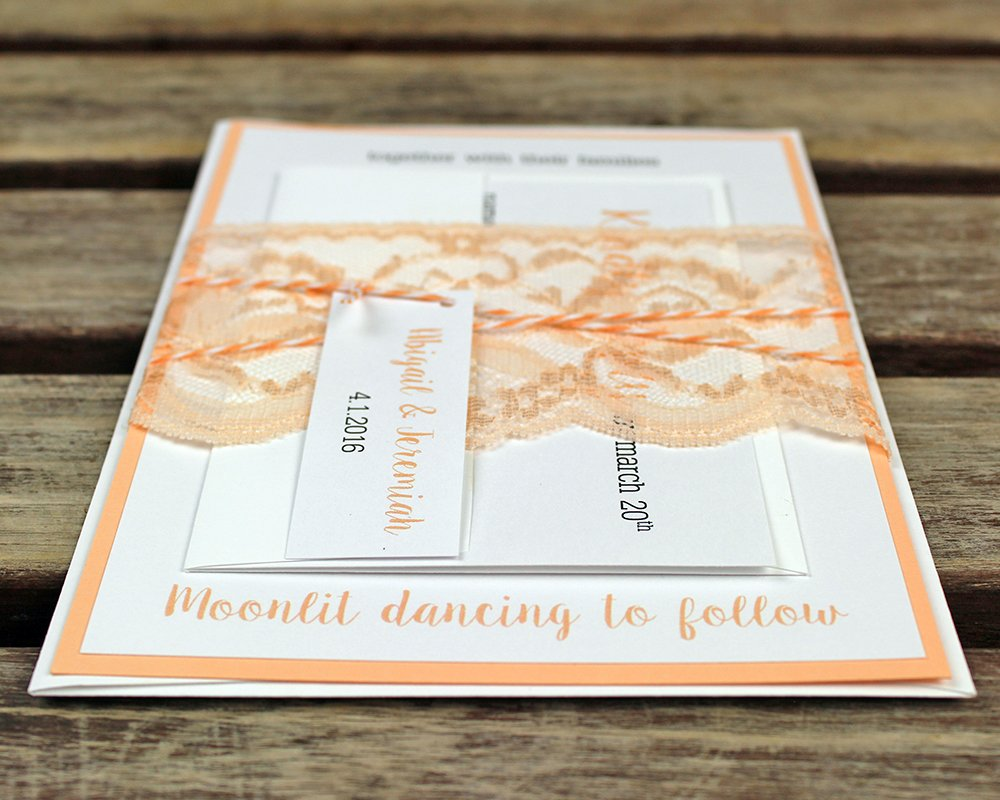 Amazon.com: Lace Wedding Invitations. Peach Wedding Invitations ...