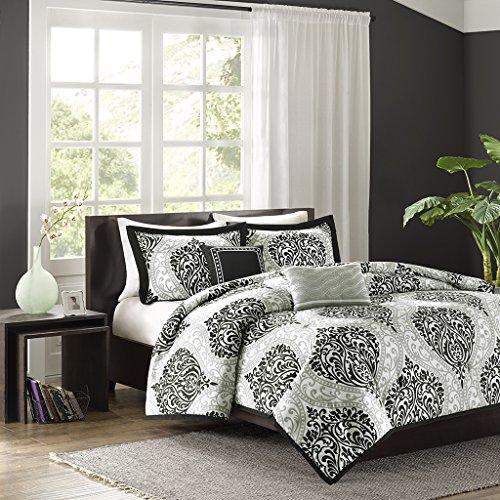 Intelligent Design - Senna -All Seasons Comforter Set -5 Piece - Black/Grey - Damask Pattern - King/California King Size - Includes 1 Comforter, 2 King Shams, 2 Decorative Pillows - Ideal For Guest Room (Black Grey Comforter Sets)