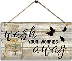 Bathroom Picture Wall Decor Printed Wood Plaque Sign - Wash Your Worries Away - Bathroom Decor Wall Arts Size 11.5