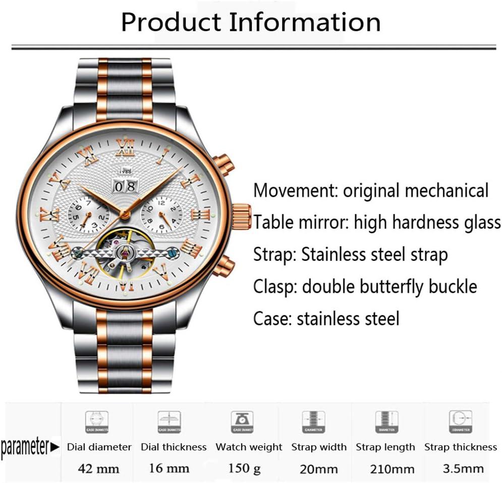 JJDB, Orologio da Uomo Digitale, Automatico, alla Moda, in Acciaio Inox, con tourbillon, Automatico, Meccanico C B