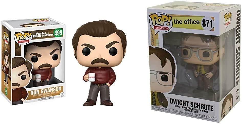 Funko Pop Television: Parks and Recreation - Ron Swanson Figure & Pop! TV: The Office - Dwight Schrute