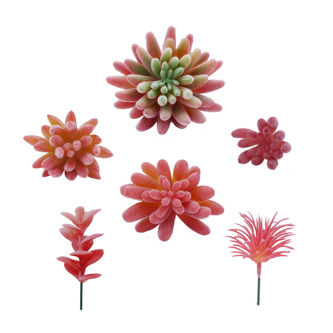 Artificial Succulent Plants Unpotted Fake Assorted - 6 Pcs Faux Flocking Succulents Arrangement Face Plant Small Greenery Set - Textured Fake Cacti Bulk for Wedding Floral Decorative Indoor Wall
