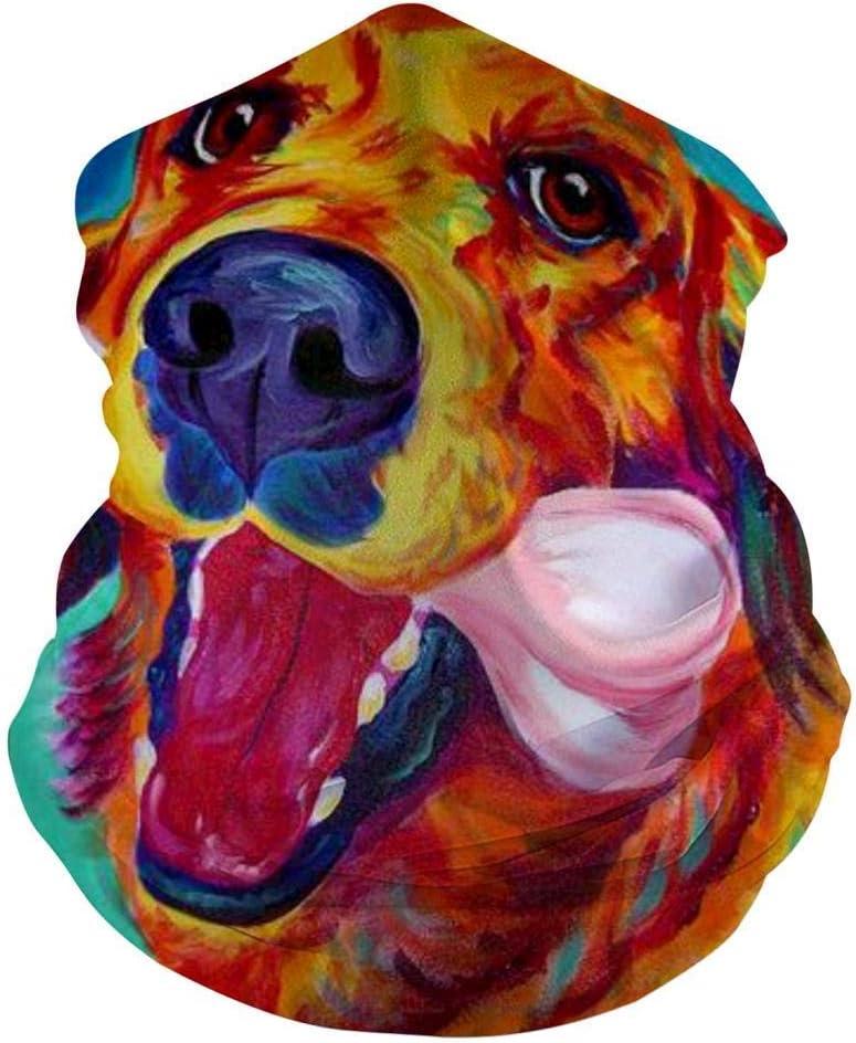 Mamihong Rainbow Colorful Golden Dog Pañuelos Personalizados de mascarilla para el Polvo, Sports Casual Headwear Seamless Neck Gaiter, Headwrap