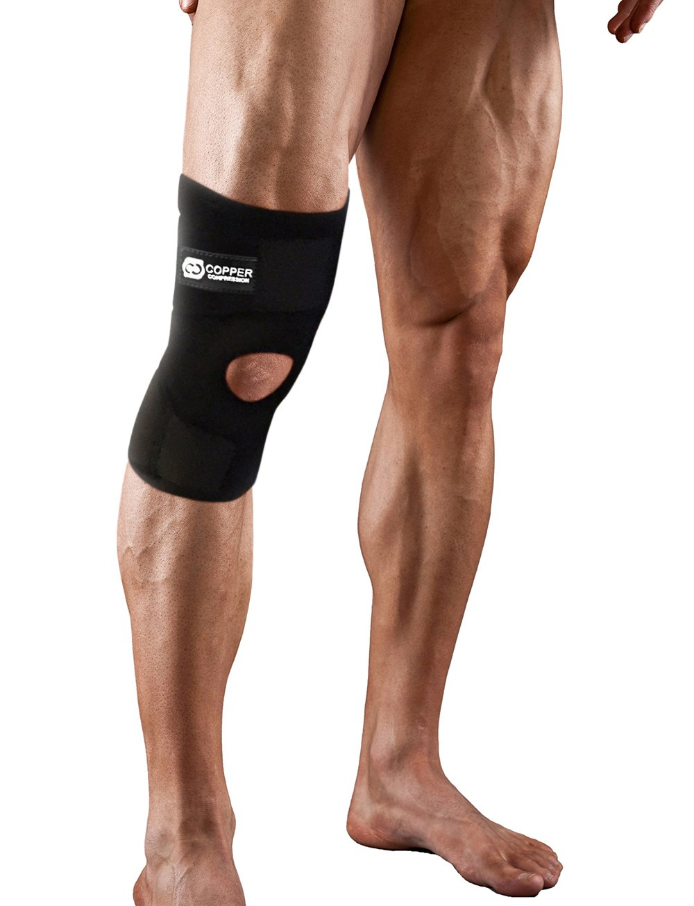 Copper Compression Extra Support Knee Brace. Highest Copper Content Guaranteed. Best Adjustable Copper Infused Fit Knee Brace. Open Patella Stabilizer Neoprene Sleeve for Sprains and Injury Recovery by Copper Compression