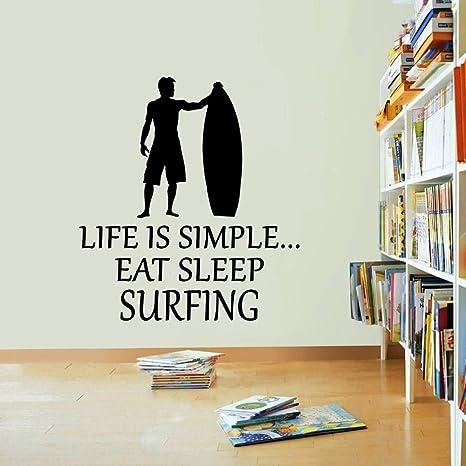 Mar Playa Etiqueta De La Pared Surfing Cita Vinilo Tatuajes De ...