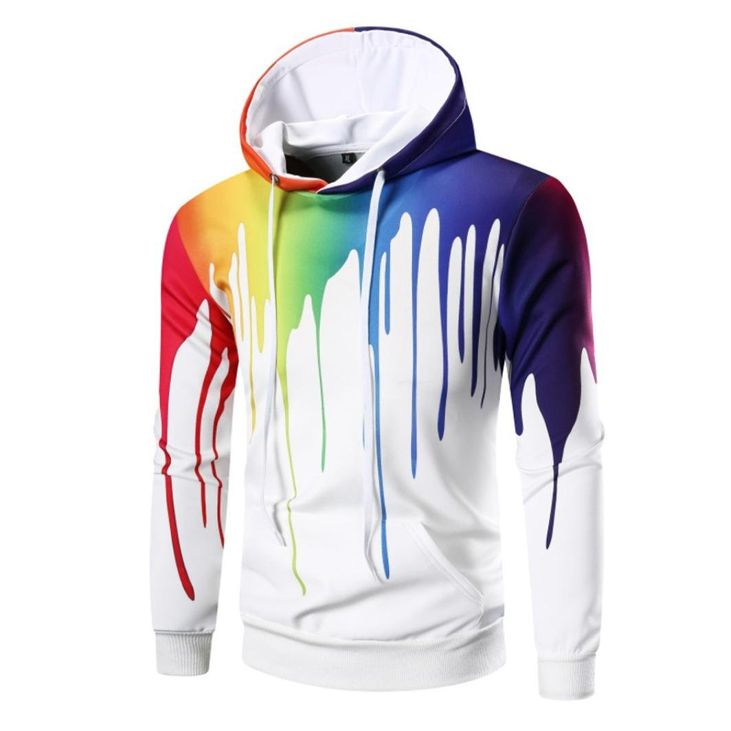 XUANOU Men's Long Sleeve Graffiti Digital Printed Hoodie Hooded Sweatshirt Tops Coat Outwear (M, White)