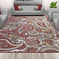 Sweet Home Stores Paisley Design Non-Slip Rubber Backing Area Rug, 50 X 66, Cream