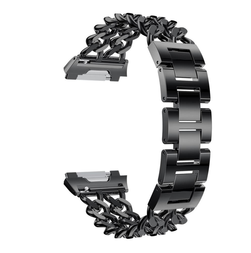バンドfor Fitbit Ionic、Hometomソリッドステンレススチールアクセサリー時計バンドストラップメタルバンドfor Fitbit Ionic ベージュ  ブラック B076MLWSG8