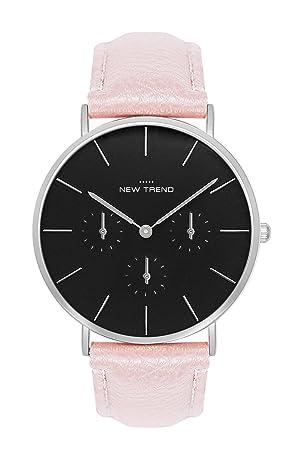 Reloj mujer RELOJ DE pulsera Cronógrafo aspecto trenduhr Plata Plateado Varios Colores Pulsera Beige Marrón salmón