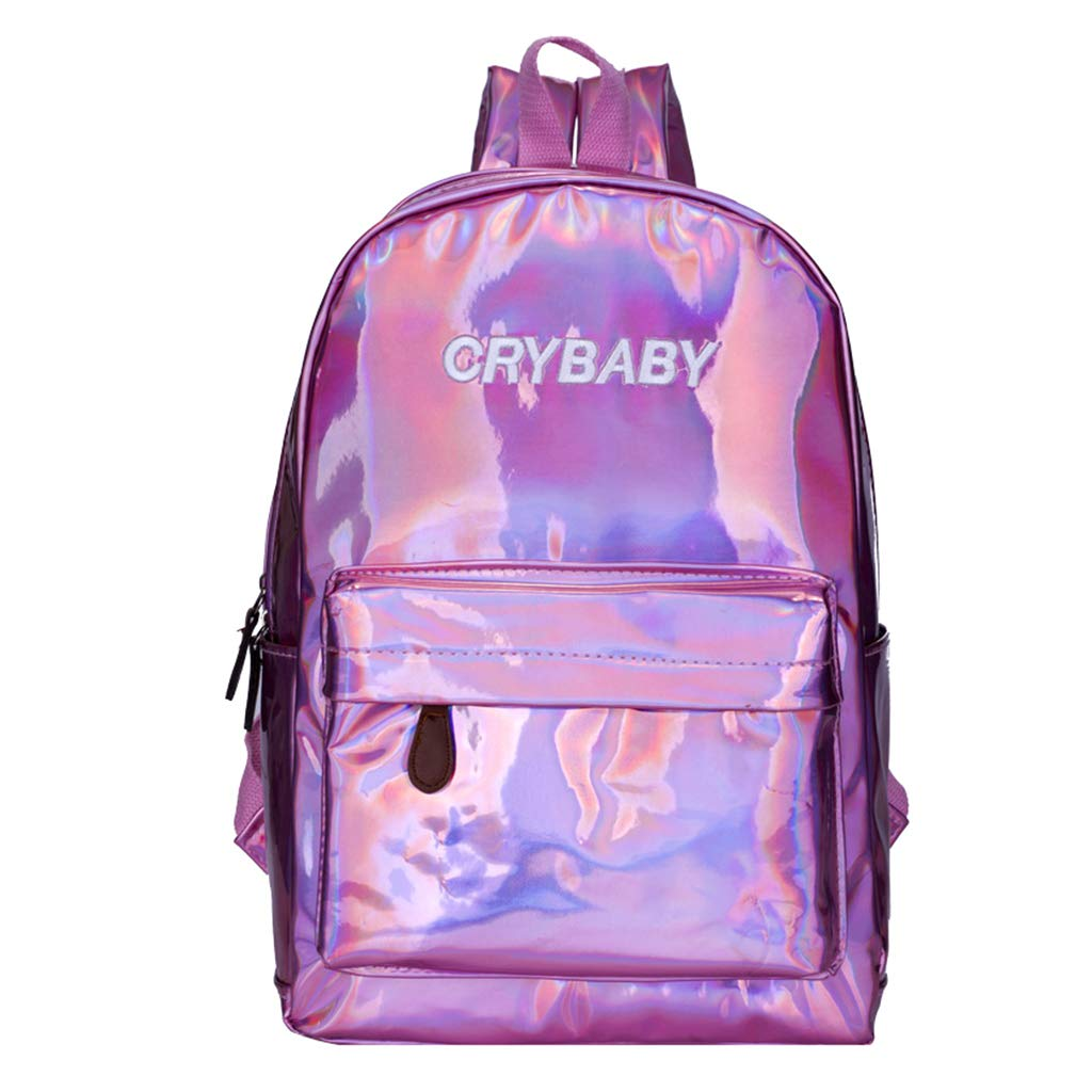 Numkuda Fashion Unisex Hologram Holographic Big Capacity Laser Backpack School Bookbag (Pink)