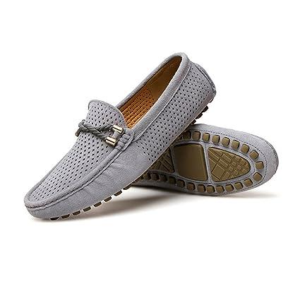 Hongjun-shoes, Conducción de los Hombres Confort Ligero Mocasines Transpirable Perforación Cuero Genuino Vamp