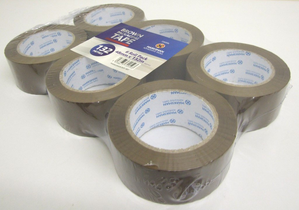 12 X BIG ROLLS OF BROWN STRONG ADHESIVE PACKAGING PARCEL SEALING TAPE 48mm  66m