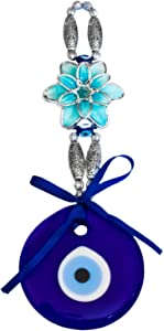 Ekayist Turkish Blue Evil Eye Wall Hanging Ornament with Blue Lotus Flower Design - Home Decor Protection - Nazar Boncuk Amulet and Home Blessing Charm - Wall Art Talisman and Good Luck
