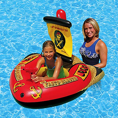 117 72cm Summer Children's Water Pirate Boat Inflatable Mount Toy seat Riding Automatic Pumping Gun Swimming Pool Toys]()