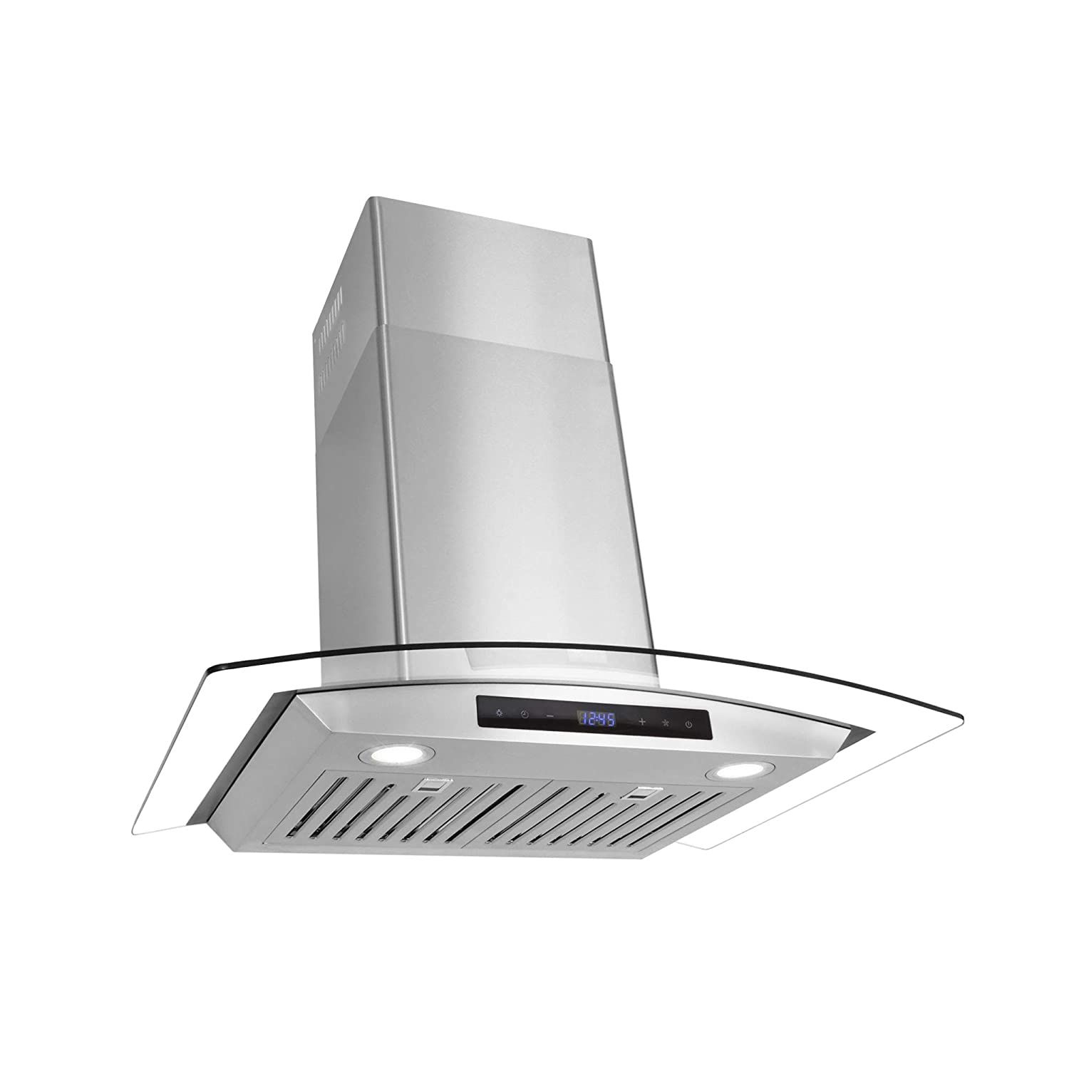 Cosmo 668AS750 30-in Wall-Mount Range Hood 380-CFM | Ducted / Ductless Convertible Duct , Glass Chimney Over Stove Vent with Light , 3 Speed Exhaust , Fan Timer , Permanent Filter ( Stainless Steel )