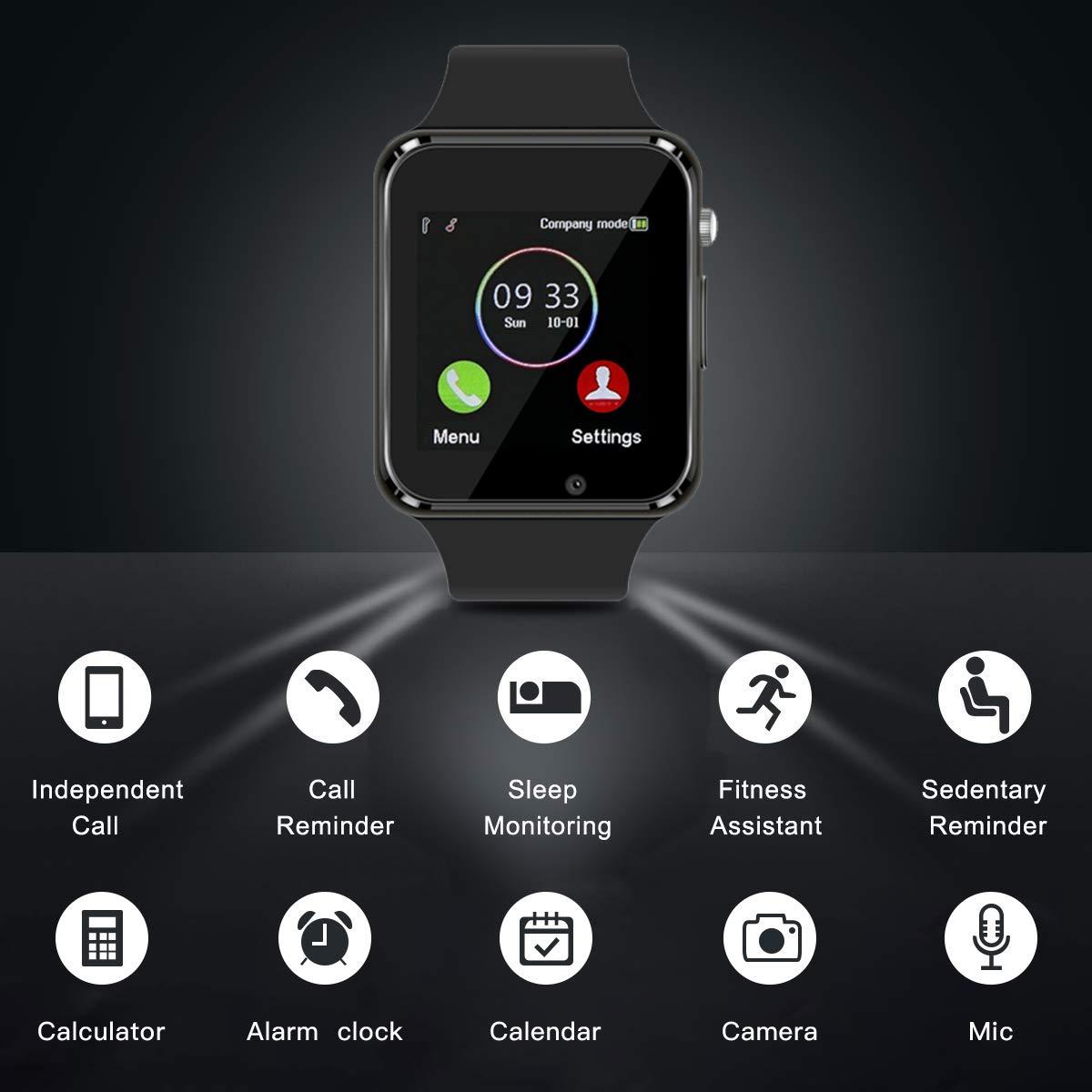 Smart Watch Bluetooth Fitness Tracker, Qidoou Android iOS Compatible Smartwatch of SIM SD Card Slot, Waterproof Pedometer Sleep Calorie Monitor Call/Message Music Clock for Kids Men Women (Black) by Qidoou (Image #4)