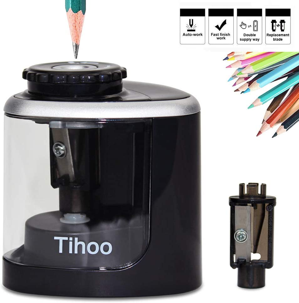 Electric Pencil Sharpener, Battery Powered, High-Speed Automatic, Best for Colored Pencils and No. 2 Wood Graphite Pencils, for Home Office School Adults Kids (Manual+Electric Free to Switch)