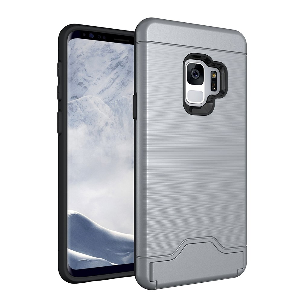 Galaxy S9 Case, CHIHENG Slim Brushed Armor Rugged Defender Back Shell Shock-Absorption [Card Slot] Dual Layer Protective Case Cover for Samsung Galaxy S9 Grey CA-330817