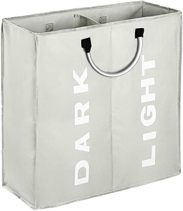IHOMAGIC 2 Section Collapsible Laundry Bag Foldable 60L Laundry Hamper Durable 600D Oxford Laundry Basket Clothes Sorter Portable Multiuse Storage Bag with Alloy Handle for Bathroom Dormitory, Grey
