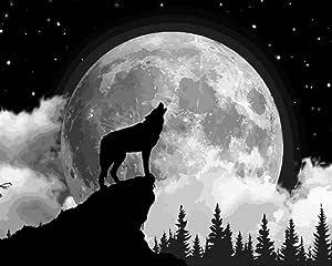 Pintura al óleo diy para niños del lobo bajo la luna