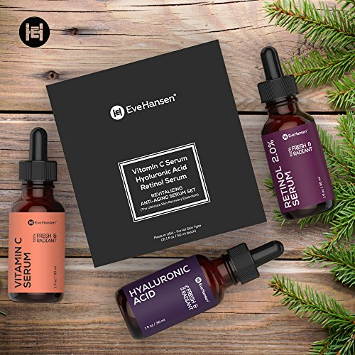 ANTI-AGING SERUM SET – Vitamin C, Hyaluronic Acid, and Retinol Serums. Eve Hansen's Top Selling Facial Serums for Your Daily Skin Care Regiments. Made in USA. Great for Gift!