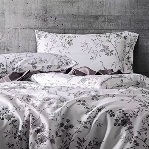 French Country Garden Toile Floral Printed Duvet Quilt Cover Cotton Bedding Set Asian Style Tapestry Pattern Chinoiserie Peony Blossom Tree Branches Multicolored Design (Queen, White Black) - Black And White Toile Bedding