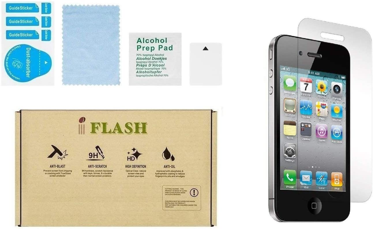 iFlash® 2 Pack of Premium Tempered Glass Screen Protector For Apple iPhone 4S/4 - Protect Your Screen from Scratches and Bubble Free - Maximize Your Resale Value - 99.99% Clarity and Touchscreen Accuracy (2Pack, Retail Package)