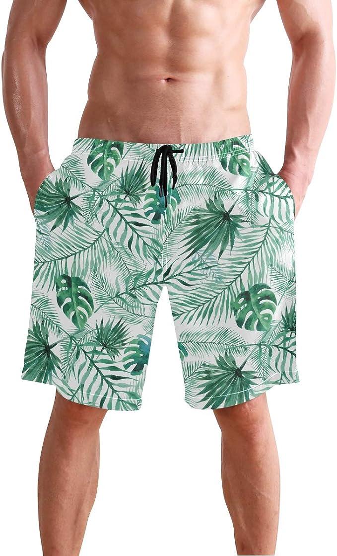 Love Needs Mens Swim Trunks Blue Watercolor Tropical Plam Tree Drawstring Boardshorts