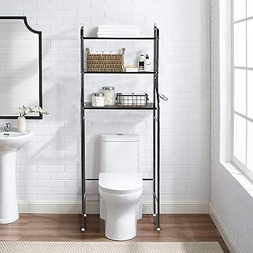 Estante para inodoro, 3 capas Hierro Baño Estante para inodoro Estante para lavadora Estante para sostener toallas y otros artículos de tocador, 56 x ...