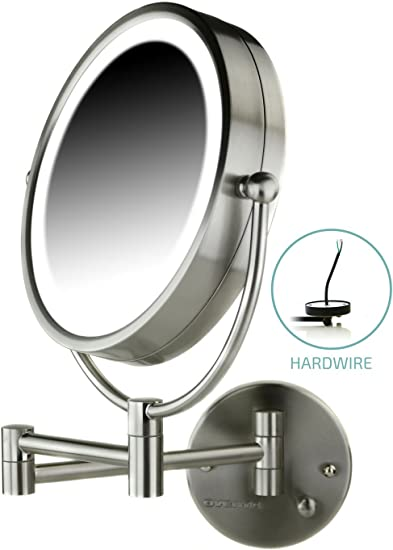 Amazon.com: Ovente Lighted Wall Mount Mirror, 8.5 Inch, Dual-Sided ...