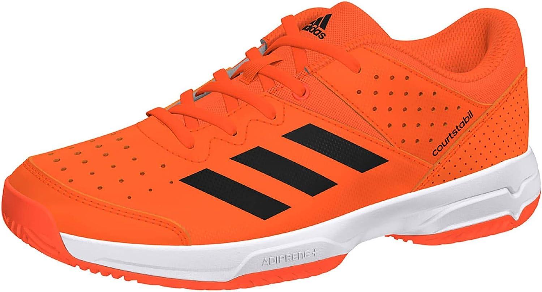 adidas Boys Court Stabil Shoes Orange Sports Tennis Handball Breathable