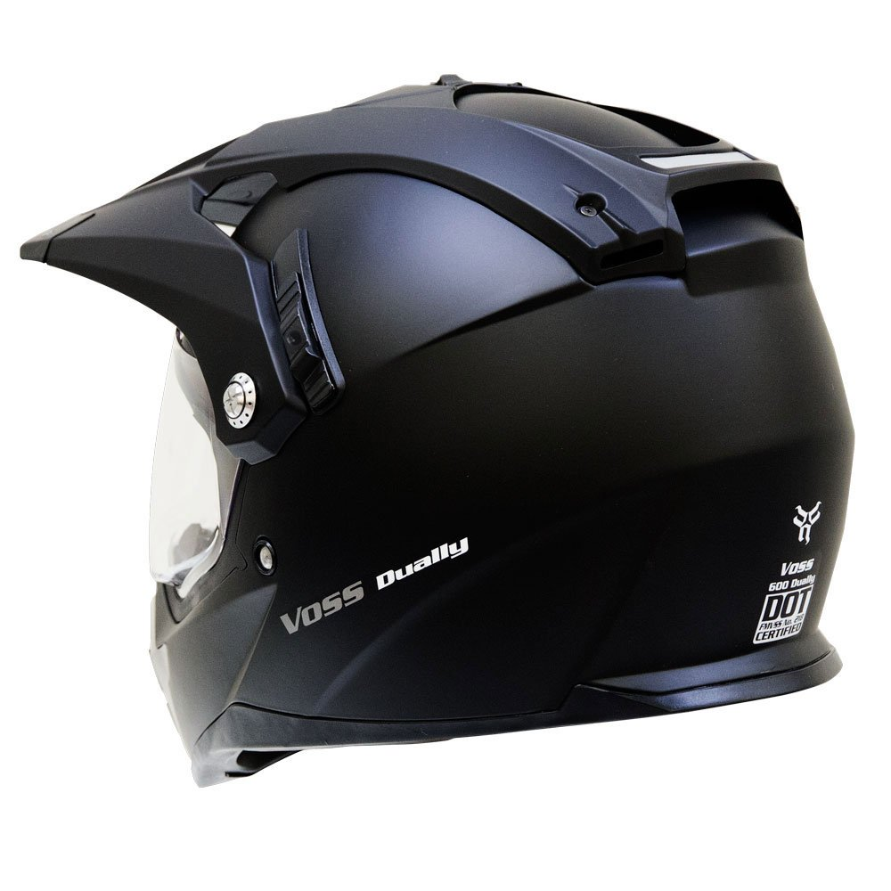 Amazon.com: Voss 600 Dually Dual Sport Helmet with Integrated Sun Lens and Removable Peak. DOT - XXL - Matte Black: Automotive
