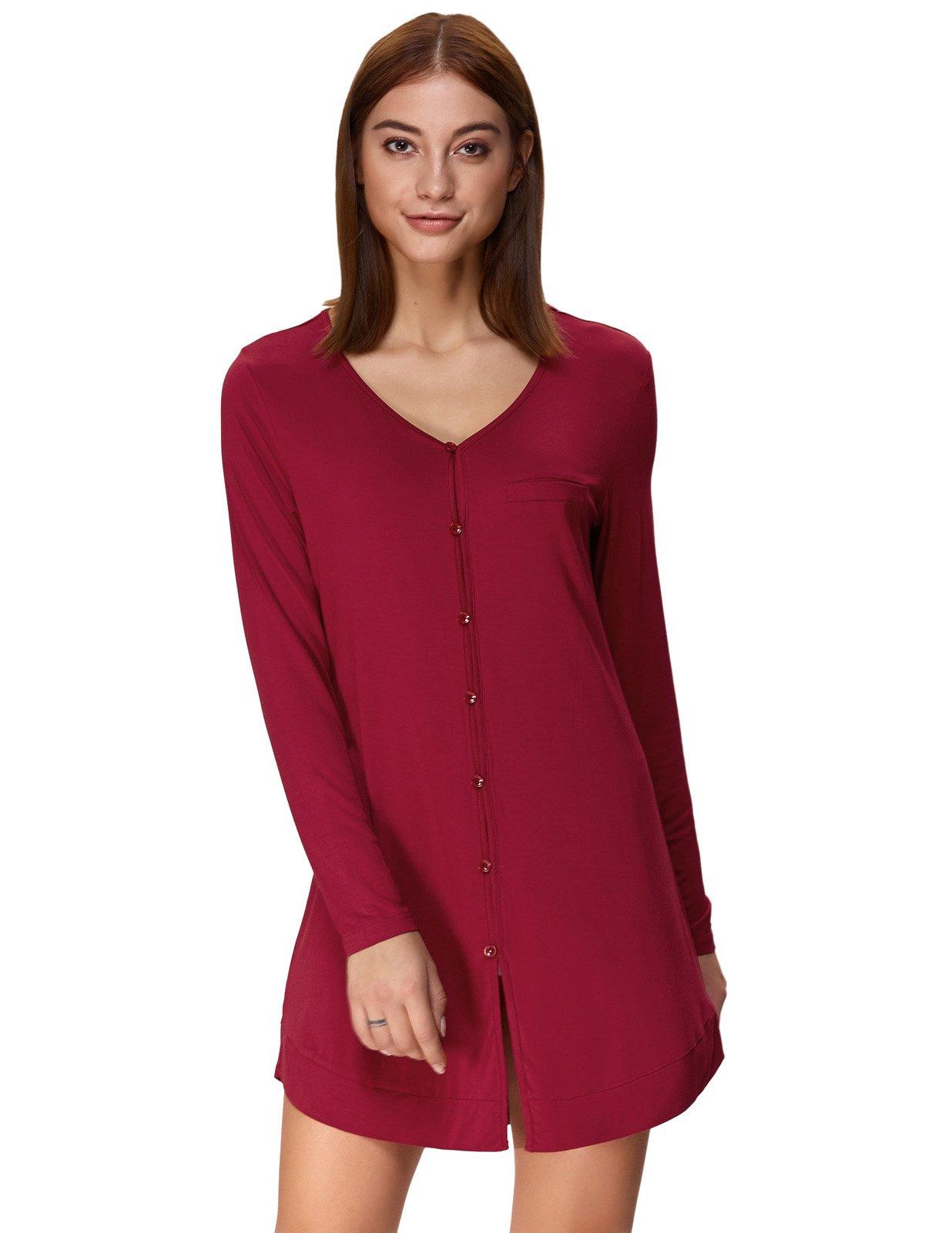 Classy Sleep Shirts for Women Boyfriend Style Sleepwear Wine Red Size M ZE73-3