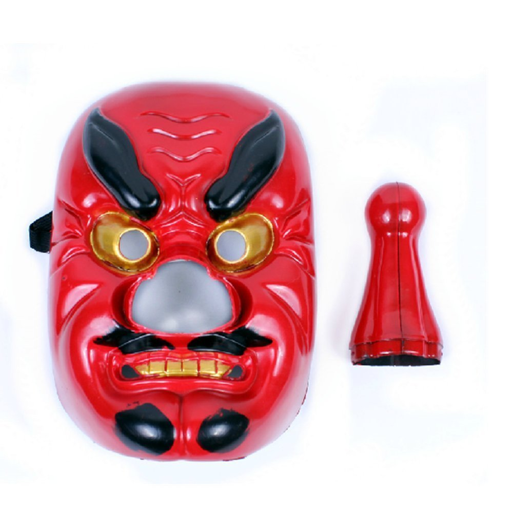 DLLL Plastic Japanese Legendary Specter Replica,Tengu Braggart Mask Red For Party,Cosplay,Collection Plastic Red
