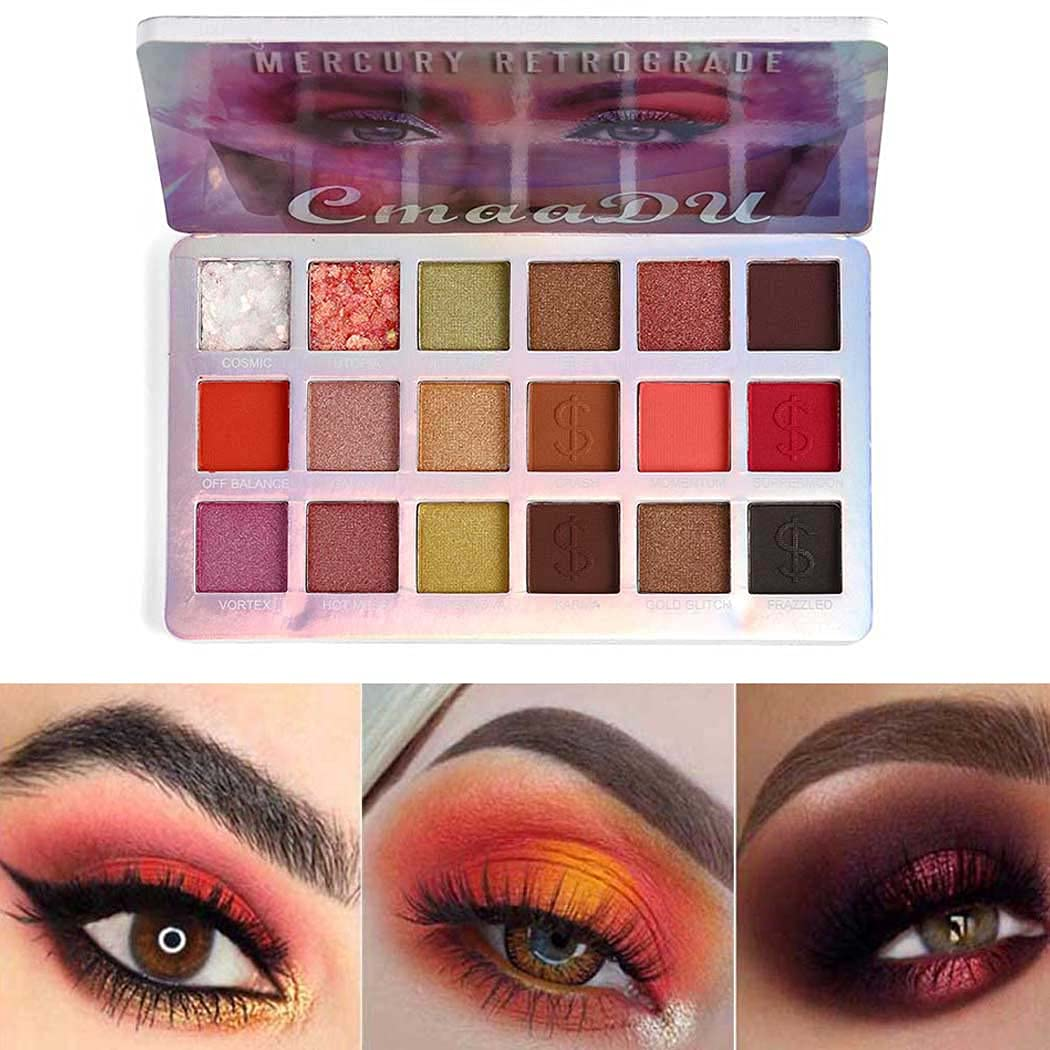 Eyret Matte and Glitter Eyeshadow Palette 18 Colors Metals Waterproof Eyeshadow Pallet Silky Natural Eye Shadow Beauty Makeup Cosmetics for Women and Girls (Multi color 2#)