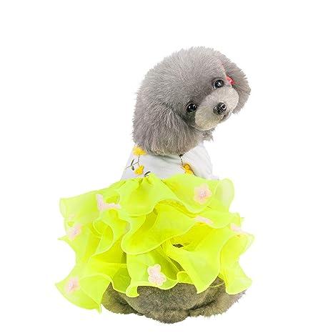 Hawkimin Vestido para Mascotas, Volantes, Estampado de Flores, Transpirable, Falda de Tul